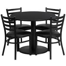 36 round black laminate table set with 4 ladder back metal chairs black