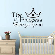 the princess sleep here wall stickers for kids room wall decals home decor wall art quote bedroom wallpaper kids wall sticker kids wall stickers from lyq669  on wall art sayings for bedroom with the princess sleep here wall stickers for kids room wall decals home