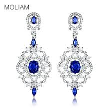 luxury chandelier dangle earrings with cubic zirconia stones for women silver color party jewelry mlae051 with 31 69 pair on wedding163 s