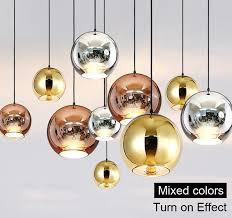 copper sliver shade mirror chandelier light e27 bulb led pendant lamp modern glass ball lighting