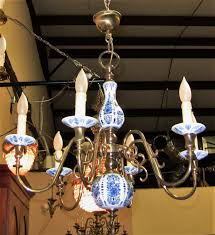 19c french blue white chandelier 3