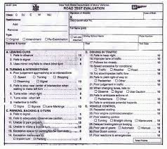 Nys Dmv Points Chart Points Sheet Evaluation For The Nys Road Test Speedy Road