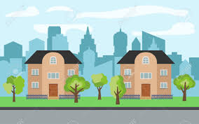 Vector City With Two Two Story Cartoon Houses And Green Trees
