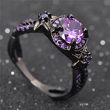 charming stone ring purple zircon fashion women wedding flower jewelry black gold filled enement rings bague femme rb0433 in wedding bands from jewelry
