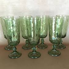 hazel atlas glasses pattern green dimple glass parfait