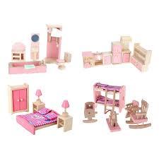 dolls furniture set. 4 Sets Dollhouse Miniature Furniture Wooden Toy 3D DIY Dolls House Assembly Toys Bedroom Living Set W