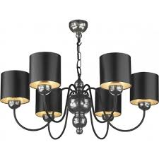 garbo 6 light multi arm ceiling fitting in pewter finish with black silver shades