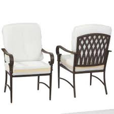 oak cliff custom metal outdoor dining chair 2 pack with cushions included