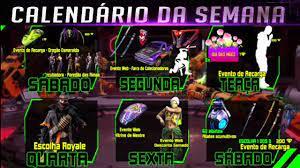 CALENDÁRIO SEMANAL DE EVENTOS NO FREE FIRE FF - Breack iT