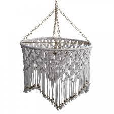 beaded macrame boho chandelier