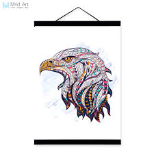 modern ancient african national totem animals eagle head a4 framed canvas painting wall art print picture