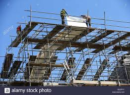 Scaffold Builders Builders High Up Working On Scaffold Stock Photo 60605551
