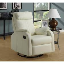 monarch specialties ivory bonded leather swivel recliner