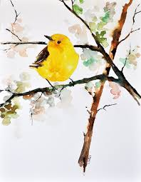 original watercolor painting bird painting yellow finch 8x11 inch