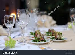 elegant table settings. A Part Of Elegant Table Setting In Luxury Restaurant. Close Up Wineglasses And Snack Settings 2