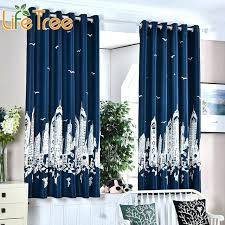 Navy And White Drapes Navy Blue Thick Short Curtains In Kids Room Boy  Bedroom Window Drapes .