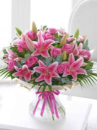 Happy Birthday Pink Rose And Lily Hand Tied