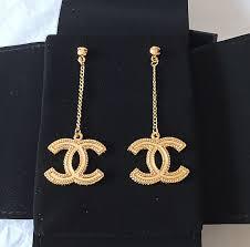chanel earrings price. chanel classic gold cc big dangle chain drop earrings hallmark authentic nib chanel price