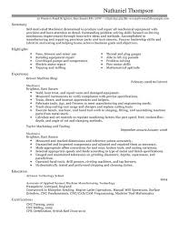 Machinist Resume Template Machinist Cv Example For Production Livecareer  Free