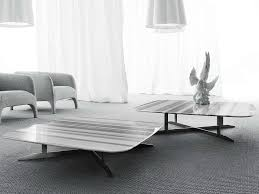 low rectangular marble coffee table for living room nord by erba italia