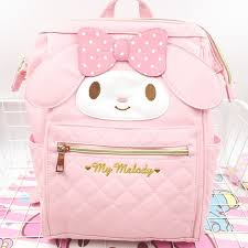 news cartoon cute genuine my melody backpack schoolbag high quality pu pink primary school bags travel bag for girls gift