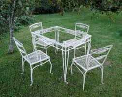 salterini outdoor furniture. Vintage Wrought Iron Salterini Willow Table And Four Chairs Salterini Outdoor Furniture