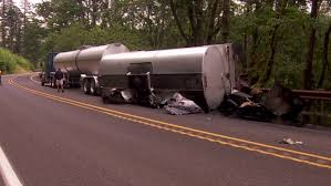 Liquid Asphalt Hwy 14 Closed As Rolled Semi Rig Dumps Liquid Asphalt Over Roadway