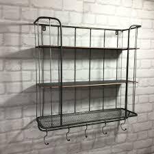 vintage industrial style metal wall shelf unit rack coat hooks storage cabinet
