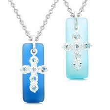 sea glass ocean and sky blue tags crystal cross love f set protection amulet necklaces