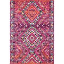 jina tribal diamonds fuchsia 8 ft x 10 ft area rug