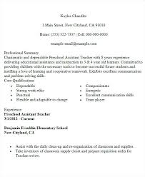 Sample Resume For Assistant Teacher Sample Preschool Teacher