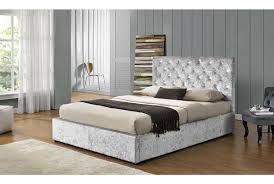 Ottoman Bedroom Furniture Chatsworth Diamante Crushed Silver Fabric Velvet Ottoman Storage