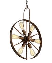 saralin wagon wheel edison bulb chandelier