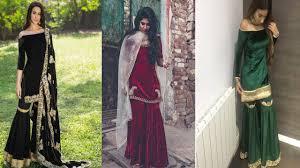 Pink Velvet Suit Design Latest Sharara Gharara Velvet Suit Designs Party Wear Sharara Gharara Dress For Girls