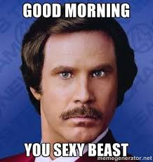 GOOD MORNING YOU SEXY BEAST - Ron Burgundy | Meme Generator ... via Relatably.com