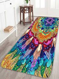 bohemian fl antiskid bath rug colorful w16 inch l47 inch