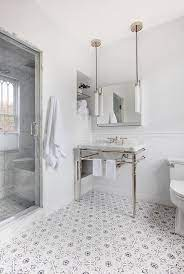 White And Gray Mosaic Bath Floor Tiles Transitional Bathroom