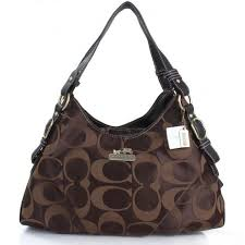 Coach Fashion Signature Medium Coffee Shoulder Bags ERG V7UddOc3