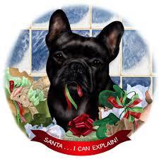 French Bulldog Black Dog Porcelain ...
