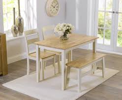 mark harris chichester oak and cream dining set 115cm with 2 chairs and bench