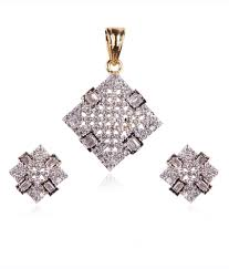 rajwada arts stylish square design american diamond pendant set with matching earrings rajwada arts stylish square design american diamond pendant set
