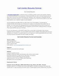 Resume Format For Bpo Jobs For Freshers New Unique Call Center