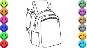 Small Picture Backpack Coloring Pages Drawing for Kids Learn Colors YouTube