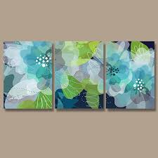 wall art canvas watercolor artwork flourish flower floral design navy blue green aqua nursery set of on navy blue and teal wall art with wall art canvas watercolor artwork flourish flower floral design