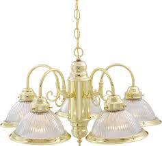 76 281 nuvo traditional polished brass 5 light 22 inch chandelier w clear ribbed shades