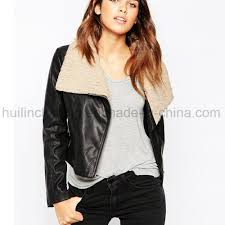 china fashion women black leather jacket with zipper china coat women coat