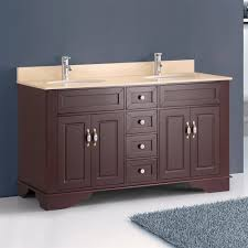 classic 59 inch double sink bathroom vanity amber red finish crema marfil marble top