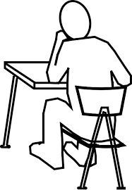 Beautiful School Chair Drawing Desk Man Thinking Sitting Throughout Inspiration Decorating