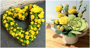 Inspiring Picture Of Rose Yellow Flower Centerpiece Including Round White Watering  Can Flower Vase And Heart Shape Yellow Flower Wreath For Wedding Table ...