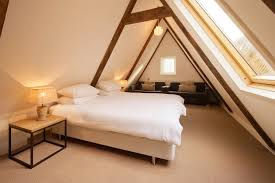 Bedroom:Vintage Attic Design With White King Sized Bed Also Stone Walls And  Travertine Tile